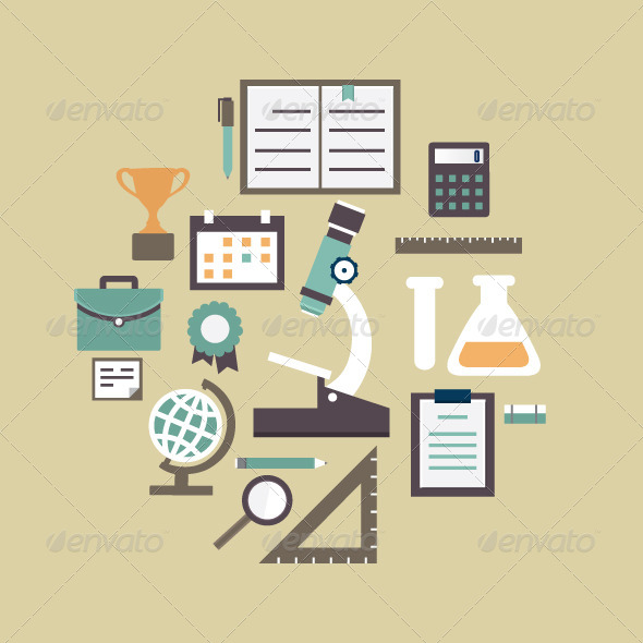 Flat Concept of Education and Knowledge - Web Elements Vectors