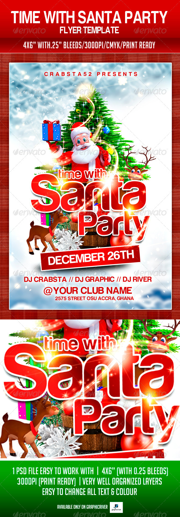 Time With Santa Party Flyer Template - Flyers Print Templates