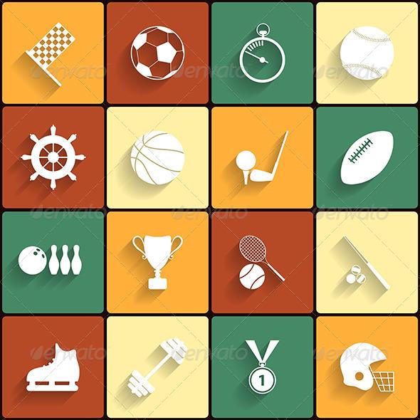 Set of Vector Sport Icons in Flat Design - Web Elements Vectors
