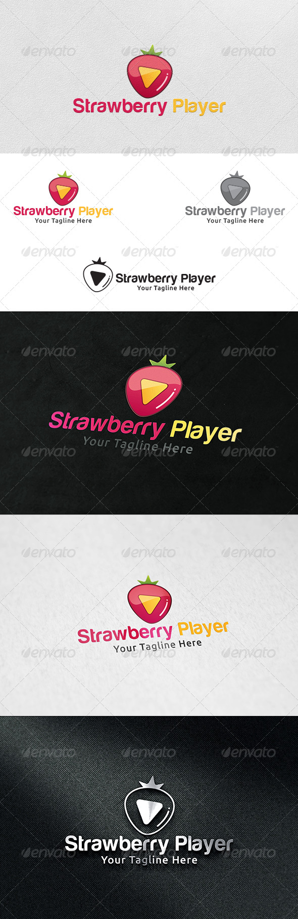 Strawberry Player - Logo Template - Food Logo Templates