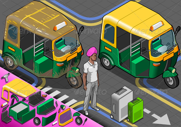 Isometric Indian Rickshaw in Front View - Objects Vectors
