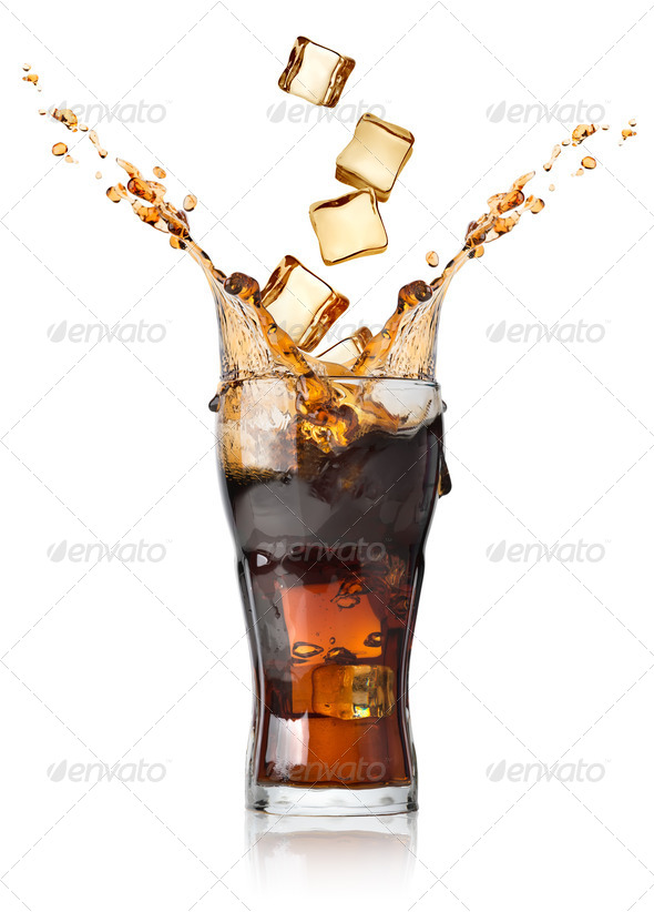 Cola with ice cubes - Stock Photo - Images