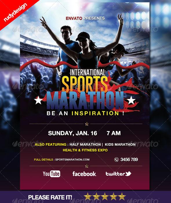 sports marathon run event flyer by rudydesign