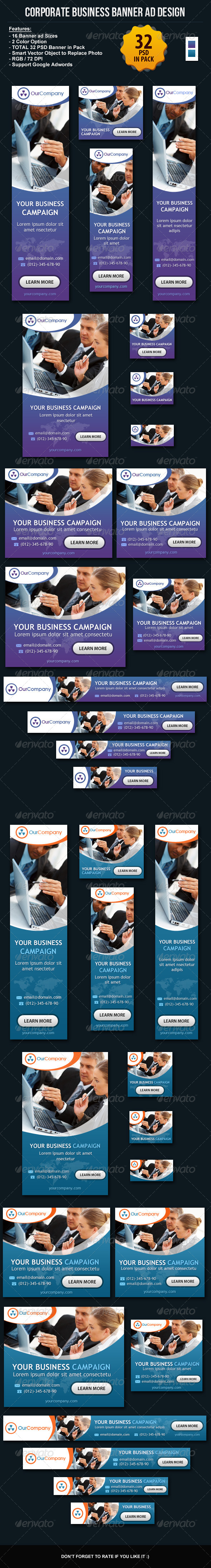Corporate Business Banner ad Design Set - Banners & Ads Web Elements