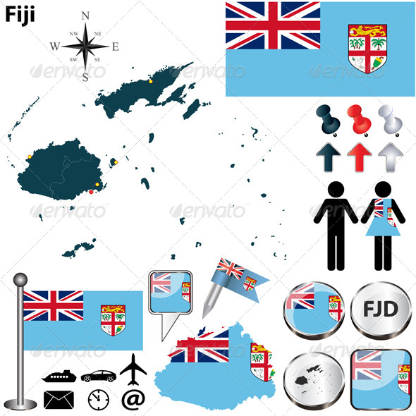 Map of Fiji - Travel Conceptual