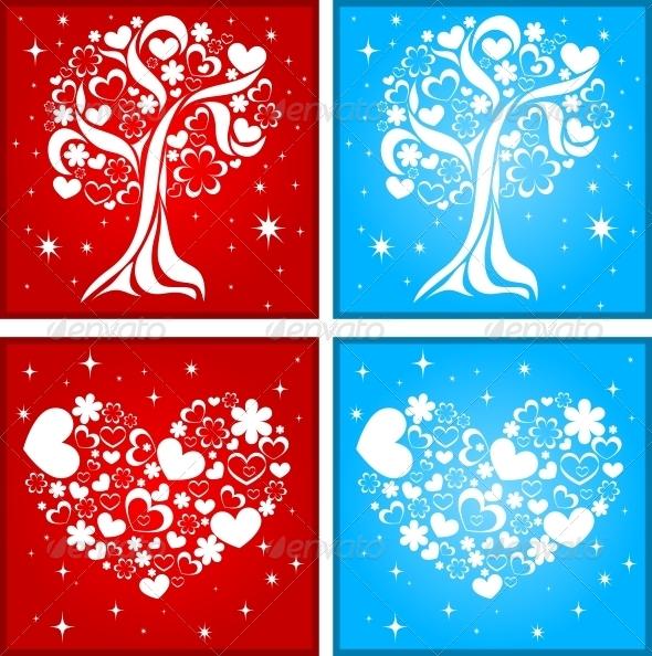 Tree and Heart Background - Decorative Symbols Decorative