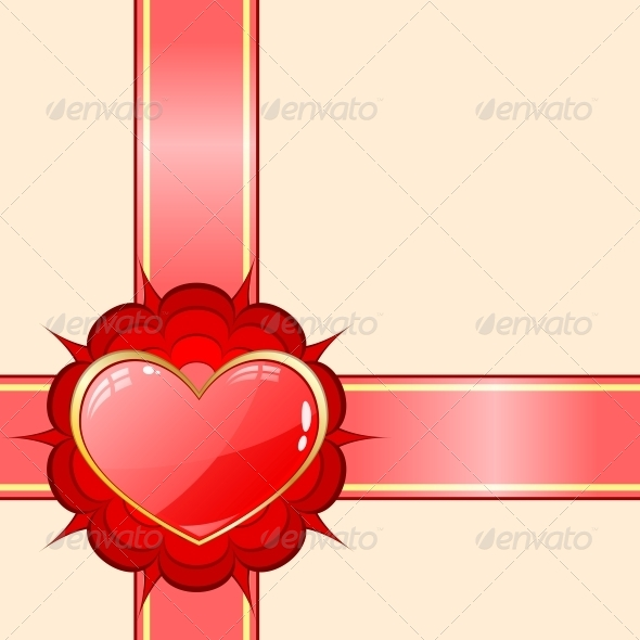 Gift Ribbon with Red Heart - Valentines Seasons/Holidays