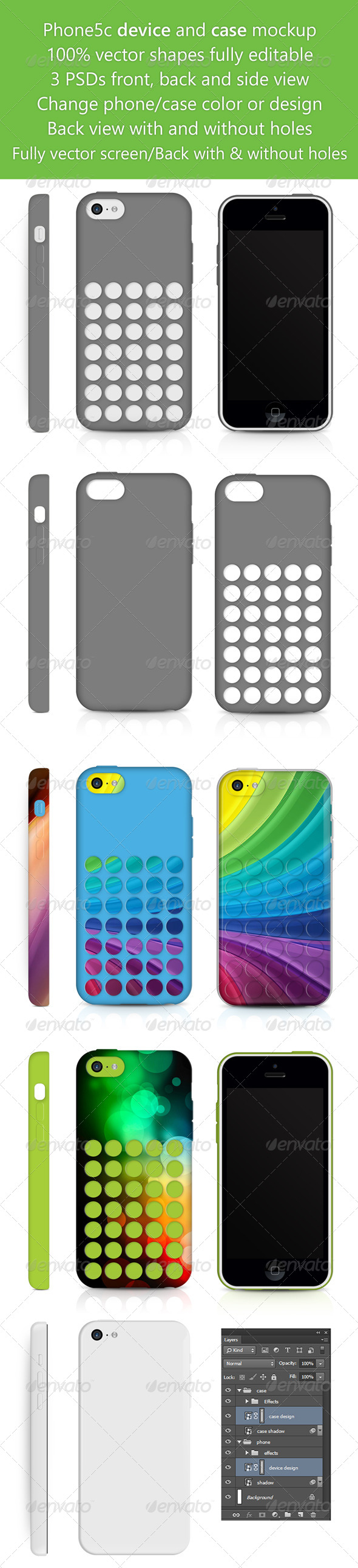 Phone5c Phone Skin and Case design Mockup  - Mobile Displays