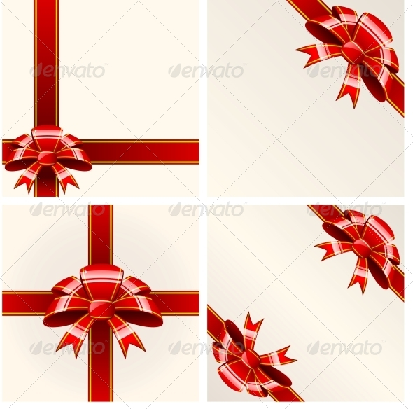 Red Bow with Ribbons - Christmas Seasons/Holidays