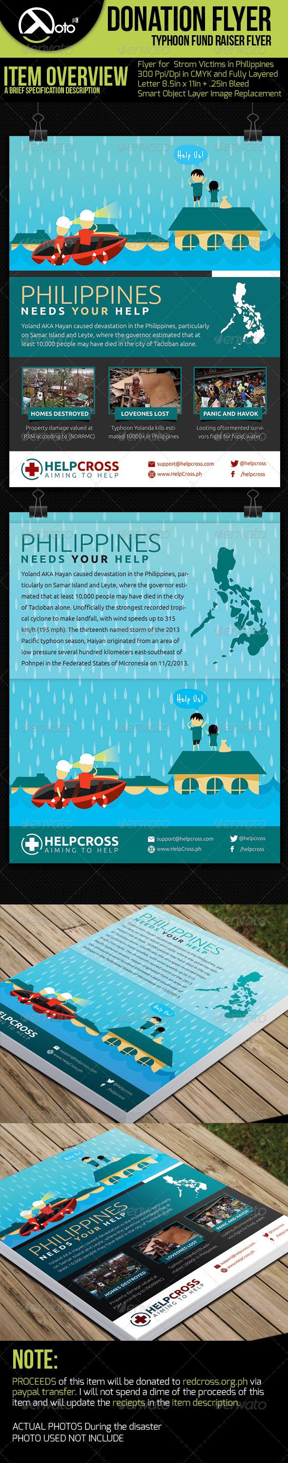 Typhoon Victim Donation Flyer  - Flyers Print Templates