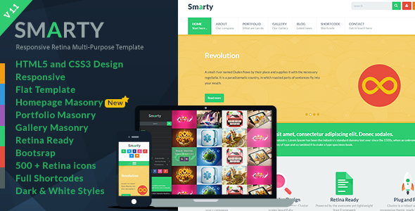Smarty - Responsive HTML5 Template - Creative Site Templates