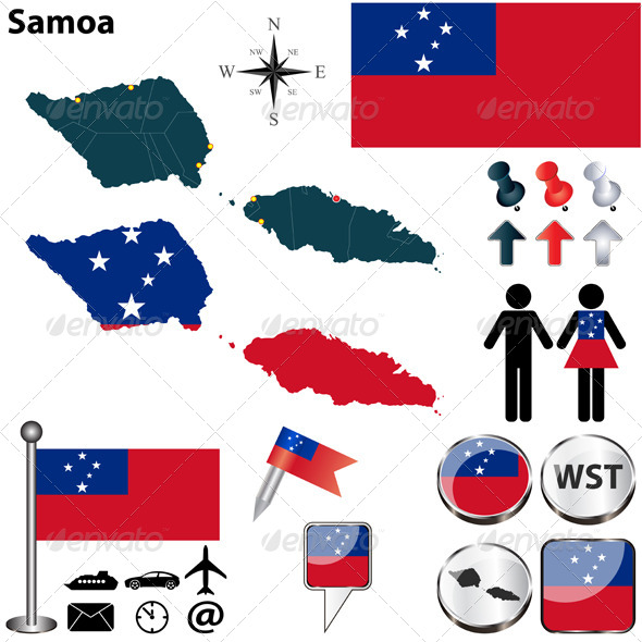Map of Samoa - Travel Conceptual