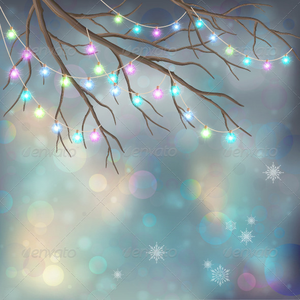 Christmas Light Bulbs on Xmas Night Background - Christmas Seasons/Holidays