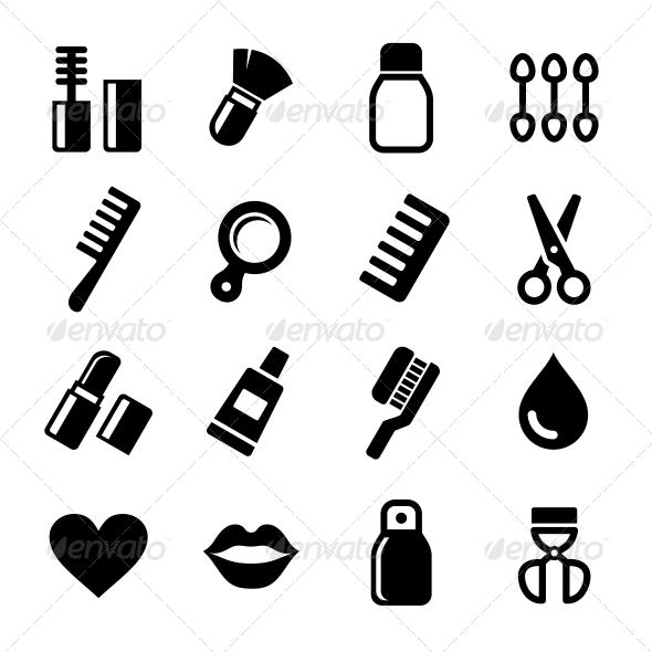 Cosmetics Perfume Icons Set - Health/Medicine Conceptual