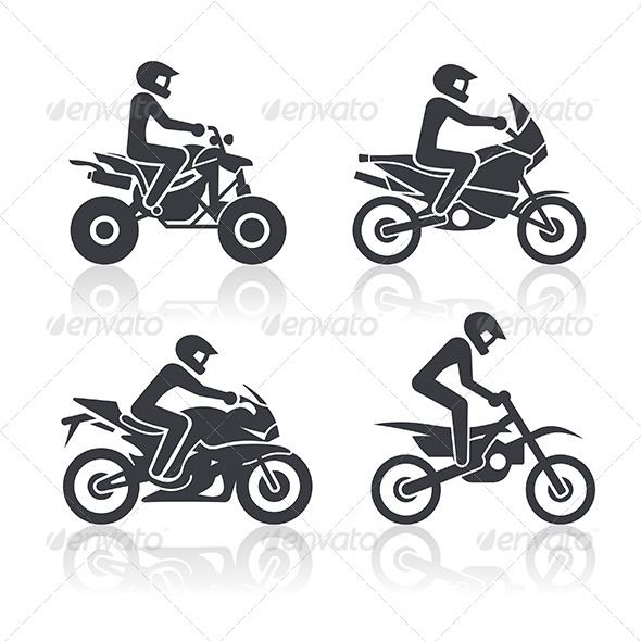 Motocycle Icons Set. Part 2 - Sports/Activity Conceptual