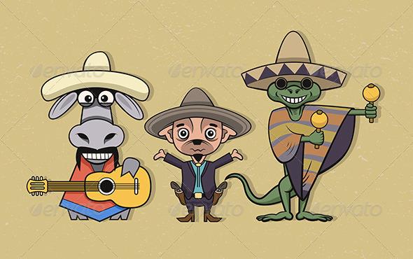 Mexican Cartoon Characters - Characters Vectors