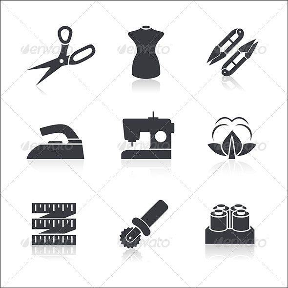 Sewing Icons Set - Objects Vectors