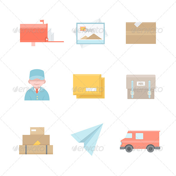 Post Office Related Icons - Services Commercial / Shopping