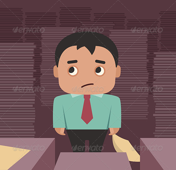 Businessman Overwhelmed By A Paperwork - Concepts Business