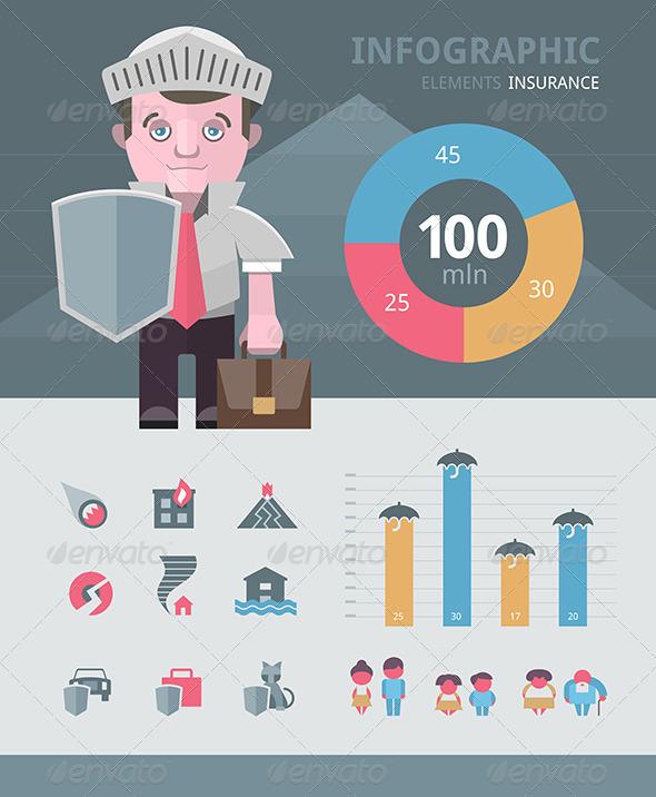 Insurance Infographics Elements - Business Conceptual