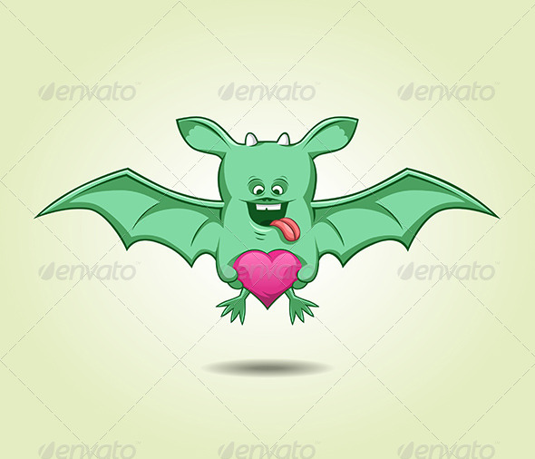 Green Flying Monster With a Heart - Valentines Seasons/Holidays