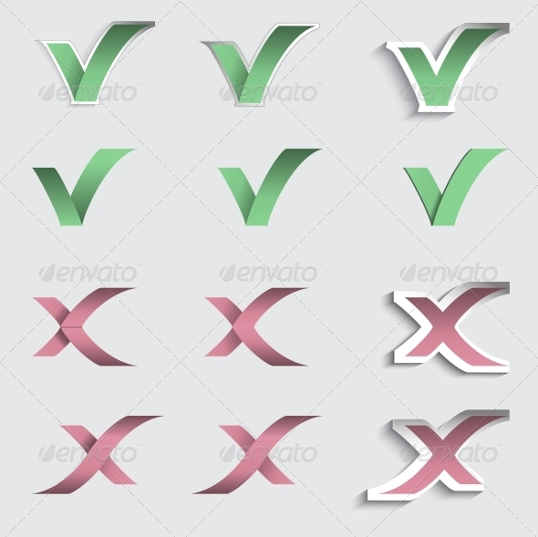 Check mark and Cross Vector Stickers - Web Elements Vectors