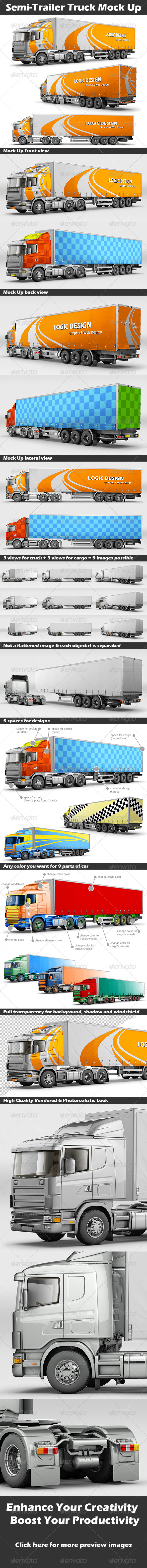 Semi-Trailer Truck Mock Up - Product Mock-Ups Graphics
