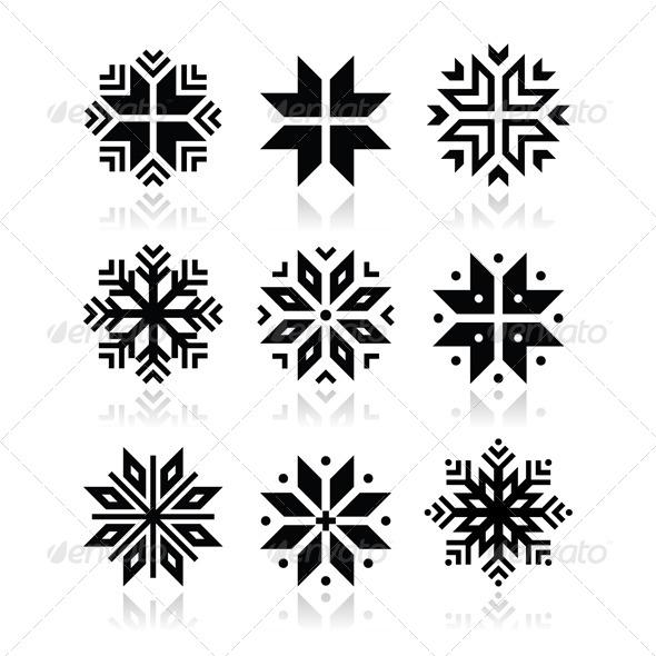 Winter Snowflakes Vector Icons Set - Christmas Seasons/Holidays