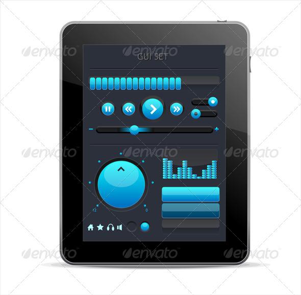 Blue GUI Elements for Tablet - Web Technology
