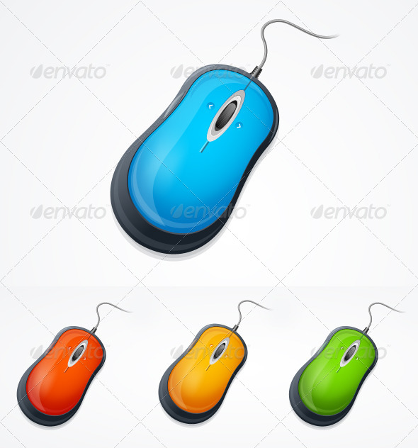 Vector Computer Mouse Set Isolated on White - Computers Technology
