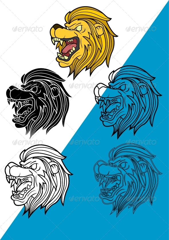 Lion Head Set Vector - Animals Characters