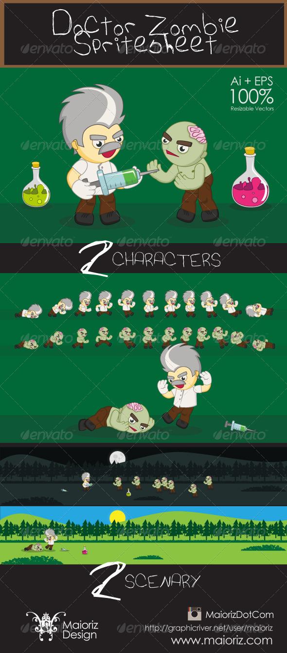 Doctor Zombie Spritesheet - Sprites Game Assets