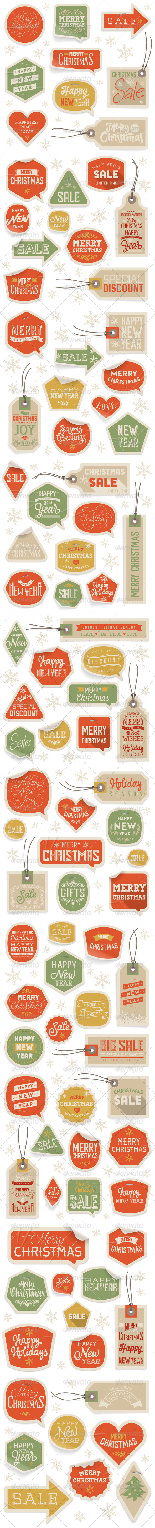 Stickers and Labels for Christmas and New Year - Christmas Seasons/Holidays