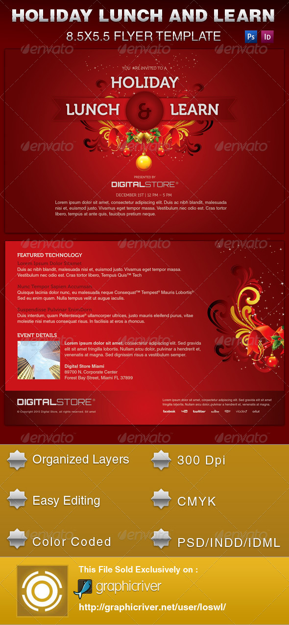 Holiday Lunch and Learn Flyer Template by loswl – Lunch Flyer Template