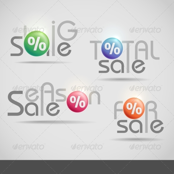 Colorful Vector Set of Sale Icons. - Retail Commercial / Shopping