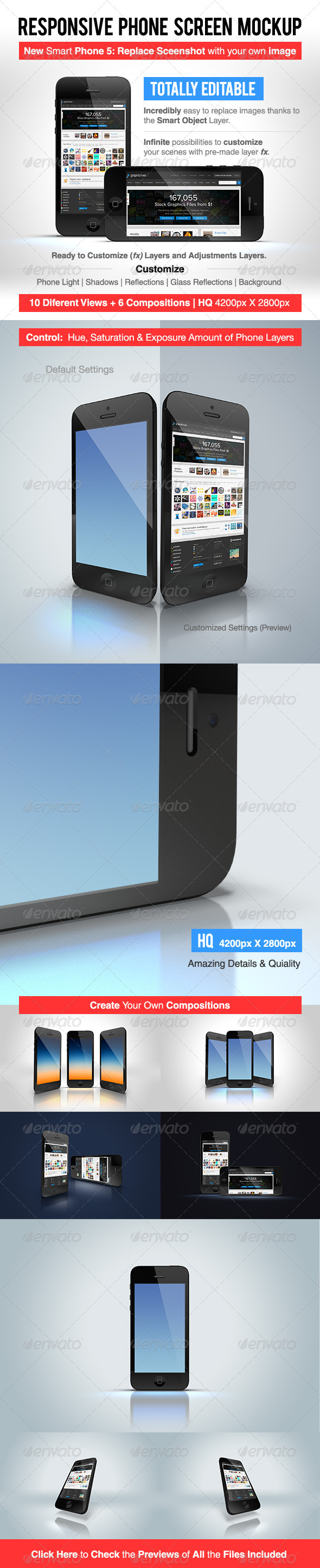 Responsive Phone Screen Mockup - Mobile Displays
