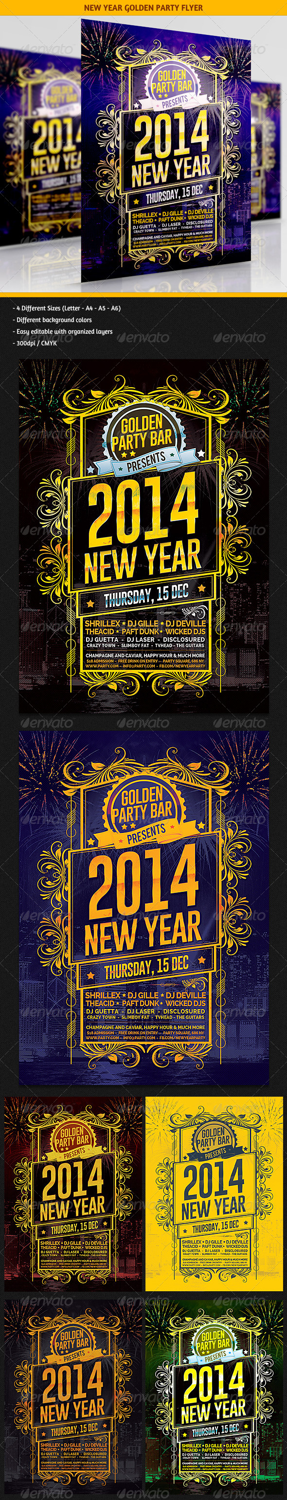 New Year Golden Party Flyer - Clubs & Parties Events