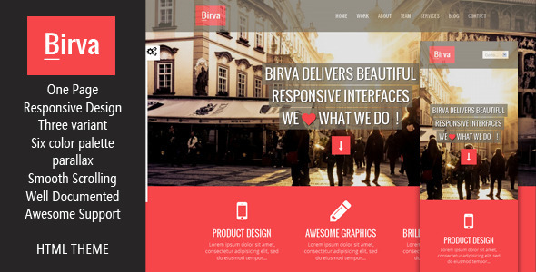 Birva- Responsive Multipurpose One Page HTML Theme - Creative Site Templates
