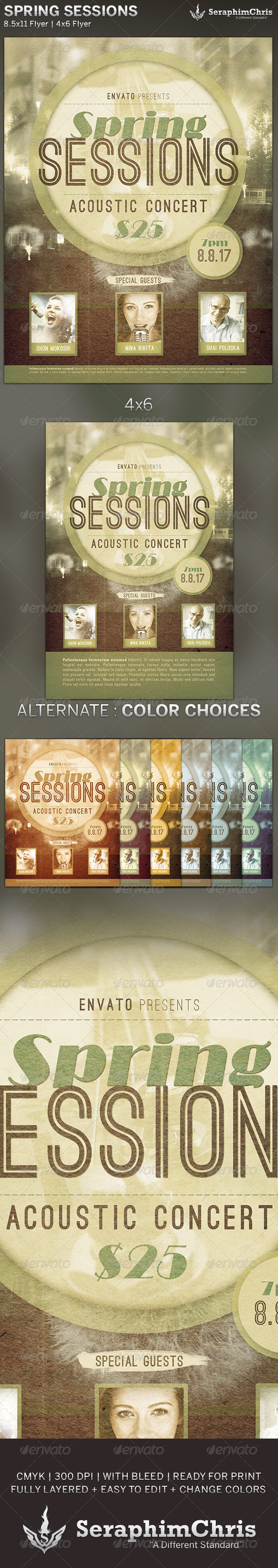 Spring Sessions: Concert Flyer Template - Concerts Events