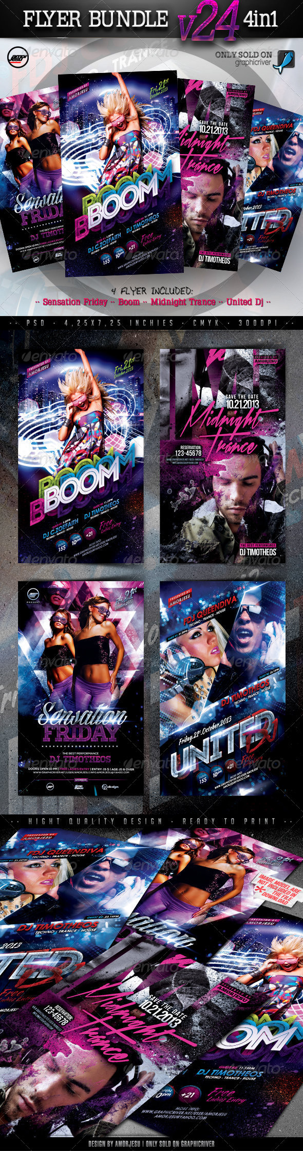 Flyer Bundle Vol24 - 4 in 1 - Clubs & Parties Events