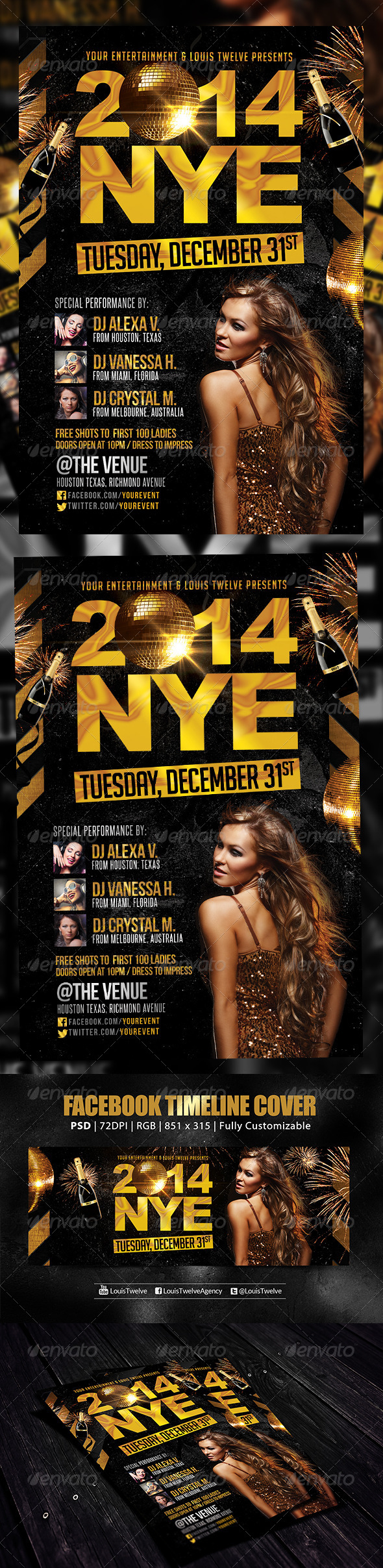 NYE Party | Flyer + FB Cover - Holidays Events