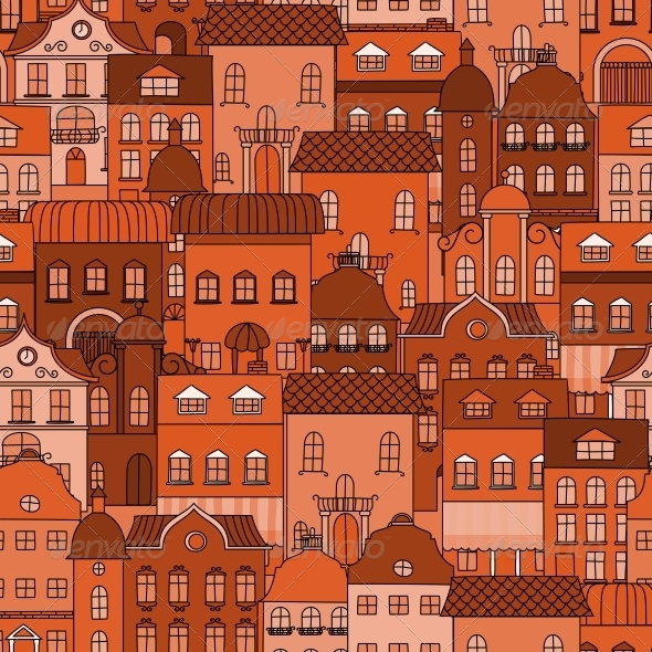 Seamless Pattern with Old Town - Buildings Objects