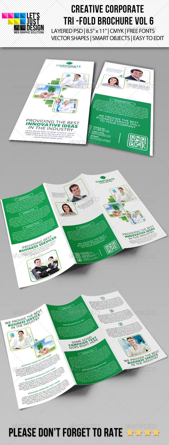 Creative Corporate Tri-Fold Brochure Vol 6 - Brochures Print Templates