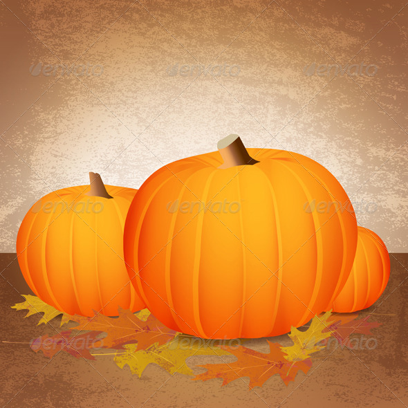 Vector Fall Pumpkins and Leaves - Seasons/Holidays Conceptual