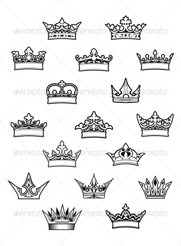 Heraldic King and Queen Crowns Set - Decorative Symbols Decorative