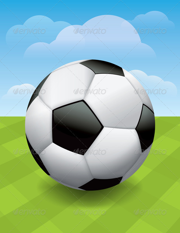 Vector Soccer Ball on Green Soccer Pitch - Sports/Activity Conceptual