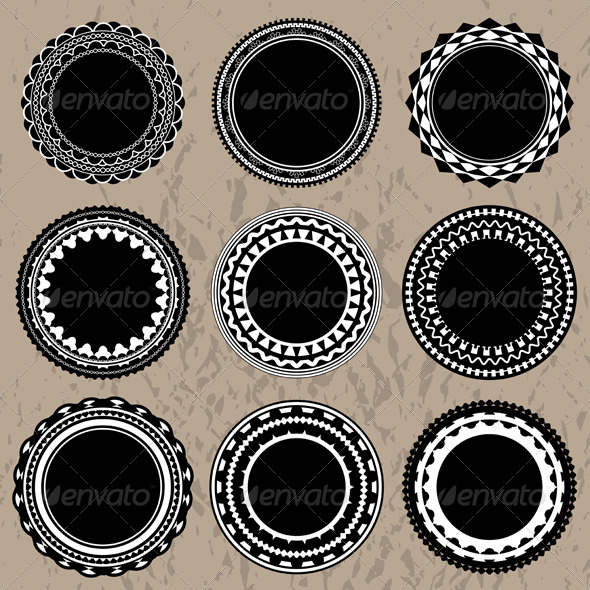 Vector Ornate Vintage Badges and Labels - Borders Decorative