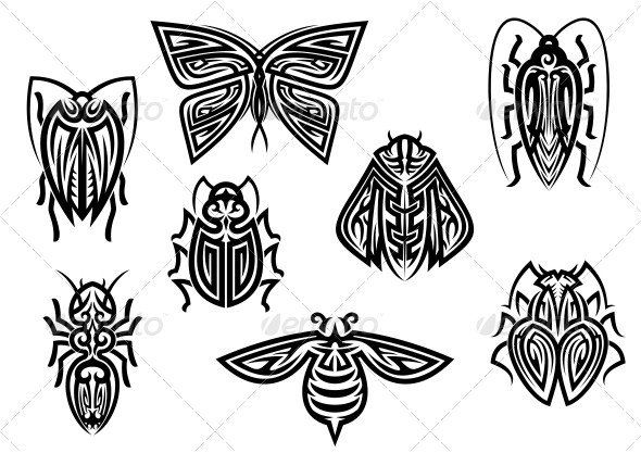 Insect Tattoos in Tribal Style - Tattoos Vectors