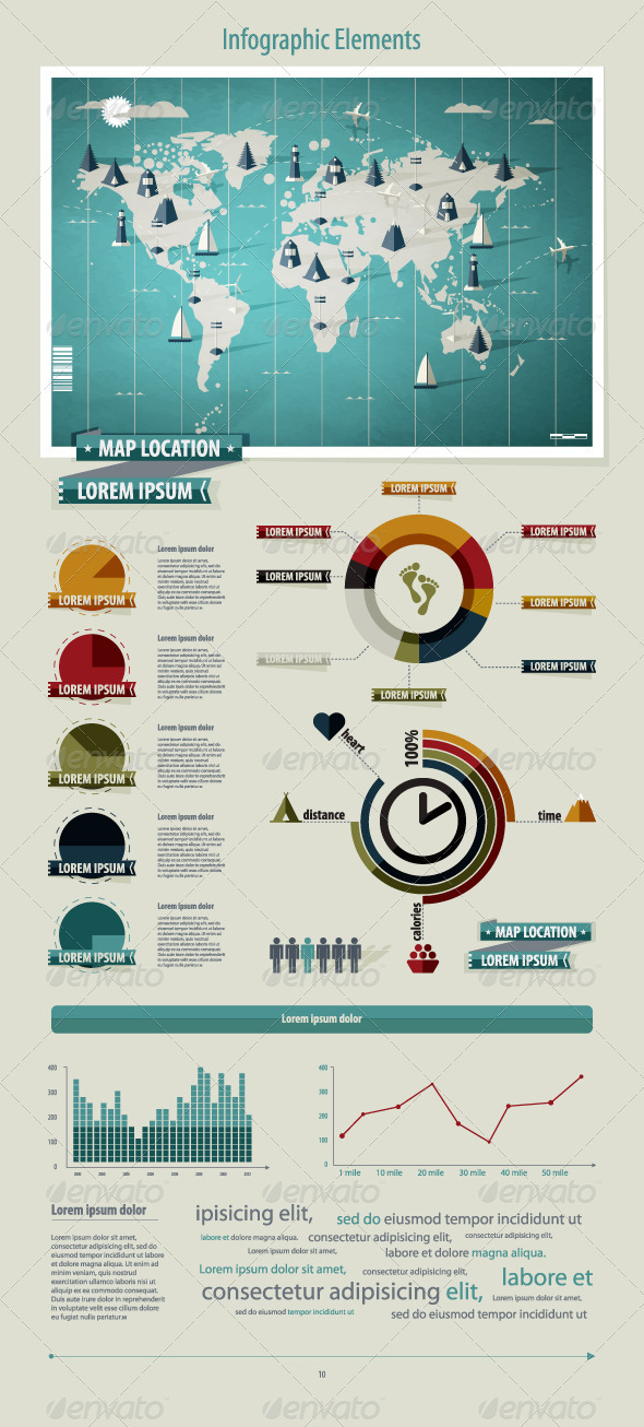 Set elements of infographics. World Map  - Infographics