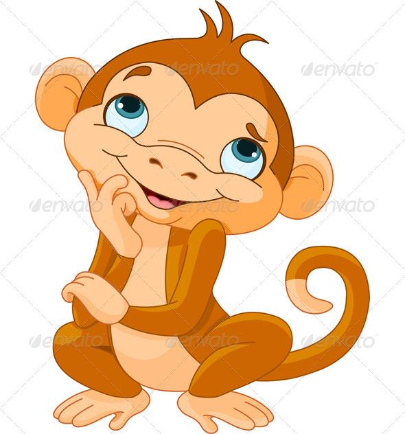 Monkey Thinking - Animals Characters